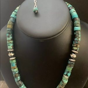 Jewelry - S.  Silver Turquoise Heishi Bead Necklace 18 Inch